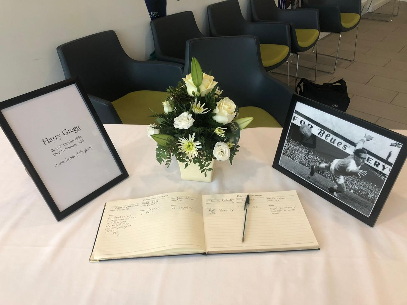 Book of Condolences opens for Harry Greg at Windsor Park