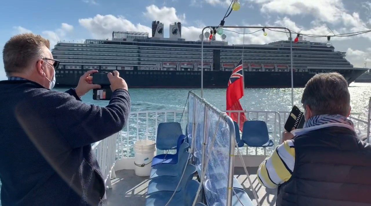 Cruise ship 'car parks' could continue for some time, as families catch boats to catch a glimpse of loved ones in emotional scenes