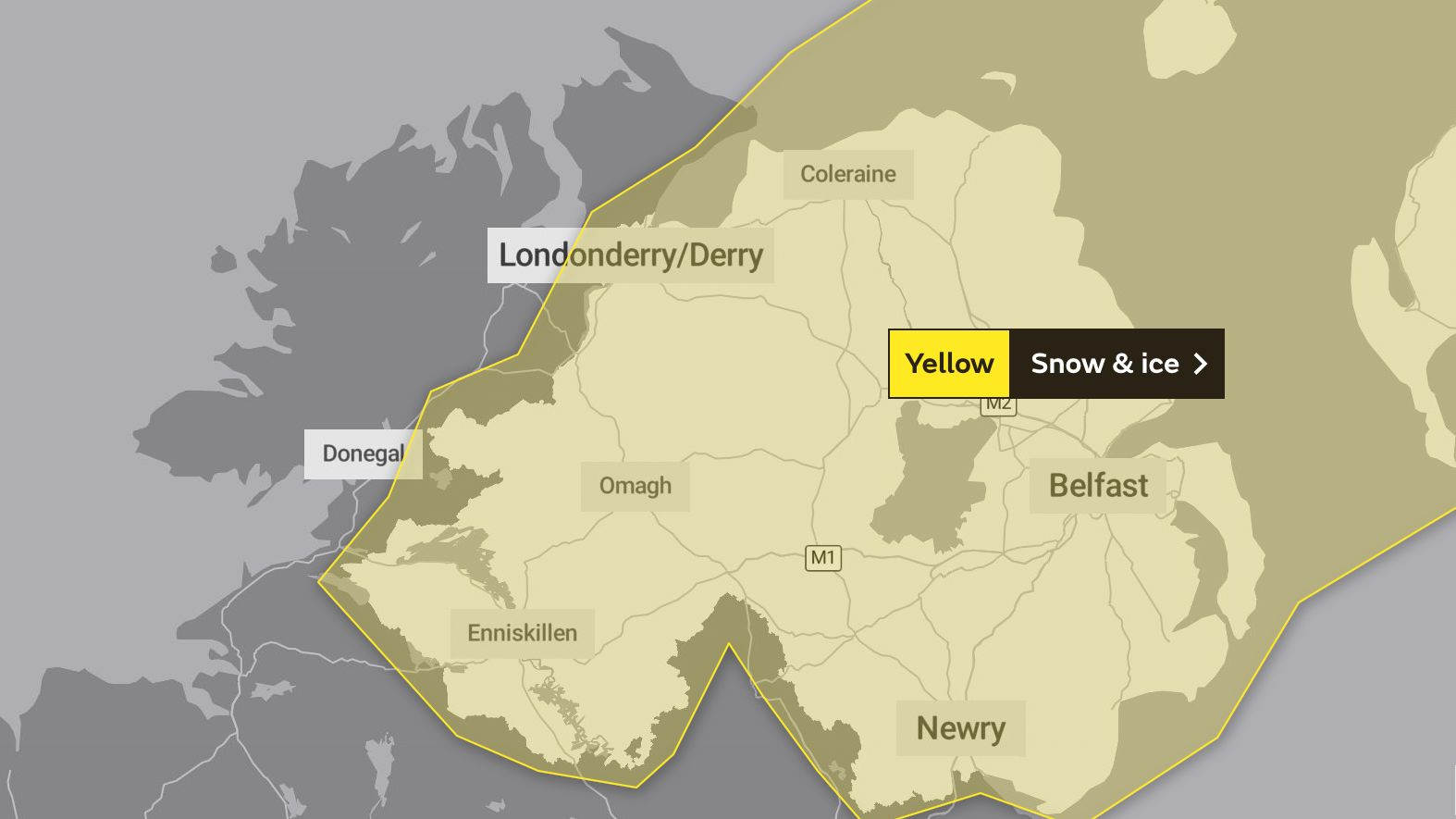 Yellow warning for snow and ice issued for Northern Ireland ☃️❄️
